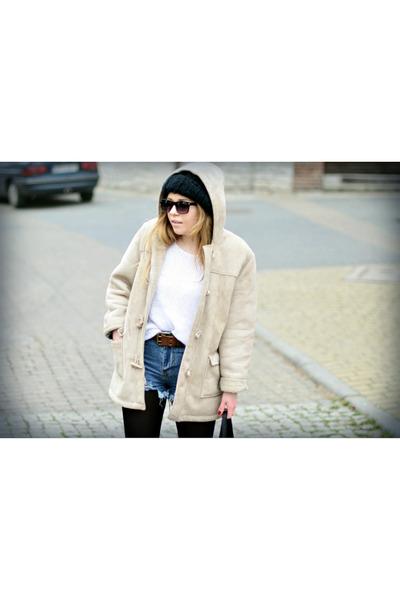 beige second hand jacket - white second hand sweater