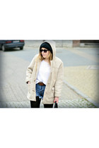 beige second hand jacket - white second hand sweater