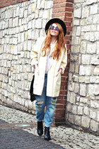 black ankle boots Stradivarius boots - light blue Zara jeans - black Zara hat