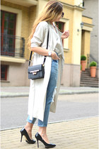 light blue ripped Front Row Shop jeans - beige trench coat H&M coat