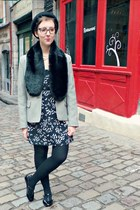 black H&M hat - navy Promod dress - off white vintage blazer