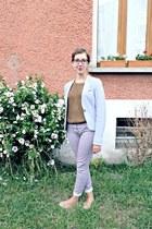 periwinkle H&M blazer - tan Tex flats - tan Zara jumper