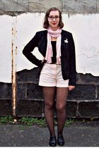 texto shoes - Naf Naf blazer - H&M shorts - Marie-Rose accessories