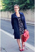 navy Promod dress - navy Briefing coat - red vintage bag - ruby red Eram heels