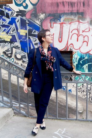 navy vintage jacket - black texto shoes - ruby red vintage scarf