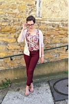 pink H&M top - maroon H&M pants - light pink H&M cardigan
