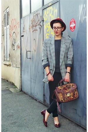 crimson H&M hat - dark gray H&M jeans - silver vintage jacket