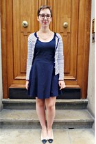 navy H&M cardigan - navy H&M dress - white vintage heels