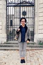 black H&M hat - silver vintage jacket - navy H&M shirt - brown new look bag