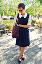 crimson texto bag - gray H&M dress - white vintage shirt - crimson Hudson flats