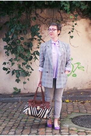 silver H&M jeans - silver vintage blazer - light purple vintage shirt
