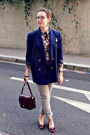 crimson CC fashion shirt - silver H&M jeans - navy vintage blazer