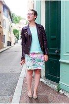 light blue H&M skirt - deep purple Naf Naf jacket - aquamarine H&M jumper
