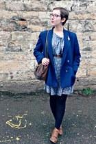 blue vintage romper - brown andré boots - navy vintage blazer