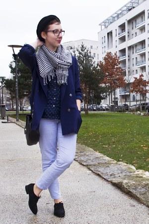 black H&M hat - navy vintage jacket - navy H&M shirt - periwinkle Gap pants