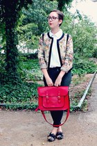 red vintage bag - dark gray H&M jeans - cream new look jacket