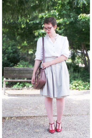 beige H&M skirt - white vintage shirt - ruby red new look bag