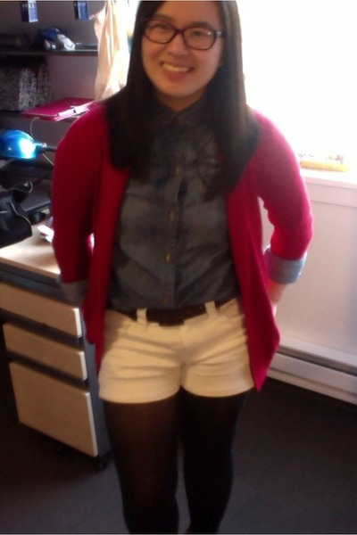white Jcrew shorts - BGD shirt - red hollister cardigan