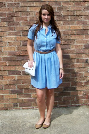 sky blue lace collar thrifted dress - bronze Target shoes - white thrifted purse