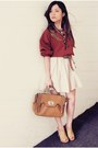 Crimson-shirt-tan-bag-eggshell-skirt