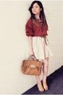 Crimson-shirt-tan-bag-eggshell-skirt