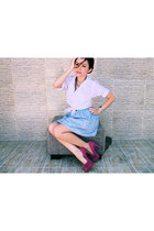 bubble gum pumps - sky blue skirt - ivory blouse
