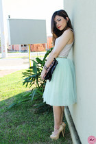 tan pumps - peach shirt - brown bag - light blue skirt