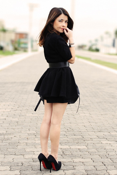 f4fcb7b61ad black dress - black bag - black pumps