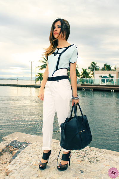 light blue blouse - black bag - white pants - black sandals