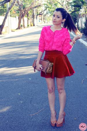 red skirt - hot pink blouse - brown pumps
