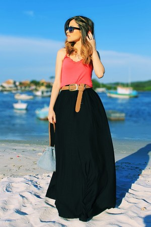 black skirt - hot pink shirt - sky blue bag