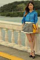blue blouse - yellow bag - white skirt - black sandals
