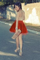 beige shoes - nude bag - red skirt - yellow top