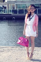 white dress - hot pink bag - beige pumps - bubble gum cardigan