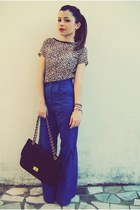 blue romper - tan pants