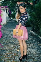 black blouse - neutral bag - bubble gum skirt