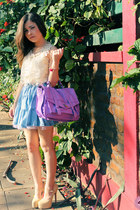 neutral blouse - violet bag - beige pumps - sky blue skirt