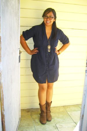 blue Target dress - brown Target boots