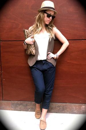 beige oxfords Lefties shoes - ivory H&M hat - black Ray Ban sunglasses - blue St