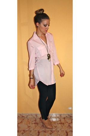 light pink BLANCO shirt - black Primark leggings - beige BLANCO heels