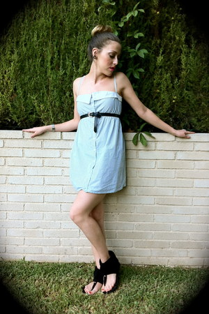 black Mari Paz sandals - light blue Lefties dress - black Primark belt