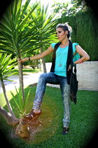 Bershka jeans - Zara vest - Zara shirt - BLANCO purse - Stradivarius necklace -