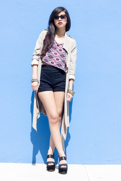 Trench Coat UNIF Jackets Urban Outfitters Shorts | U0026quot;Cat Eye Shadeu0026quot; By Leprettystellar | Chictopia