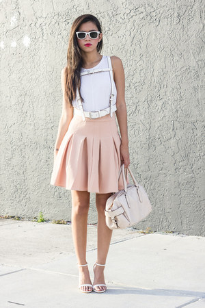 Zara top - Front Row Shop skirt - Zara heels - harness belt BCBG belt