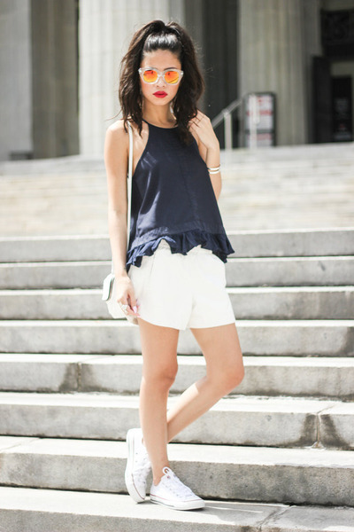 cami Three Of Something top - faux leather bardot shorts