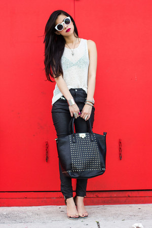 black studded bag Urban expression bag - black faux leather UNIF pants