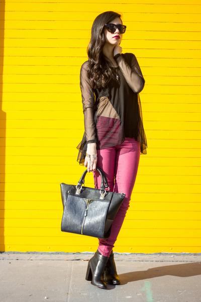 stylestalker top - Elizabeth & James boots - colored jeans dittos jeans