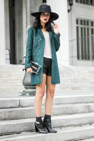 leopard print SANDRO coat - H&M hat - lucite SANDRO bag