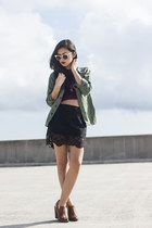 Zara skirt - Forever 21 boots - Spitfire sunglasses - crop top 2020AVE top