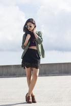 Zara skirt - Forever 21 boots - Spitfire sunglasses - crop top 2020AVE top